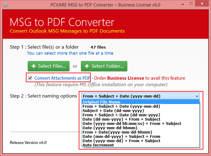 Convert MSG to PDF screenshot