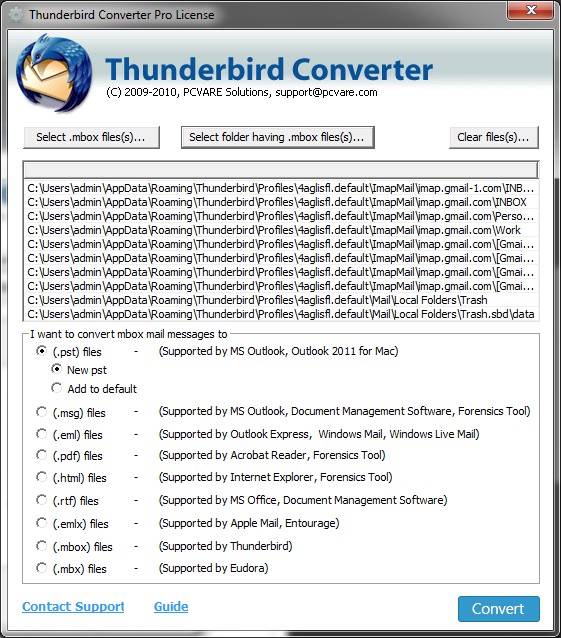 Convert Thunderbird emails to EML 7.4.4